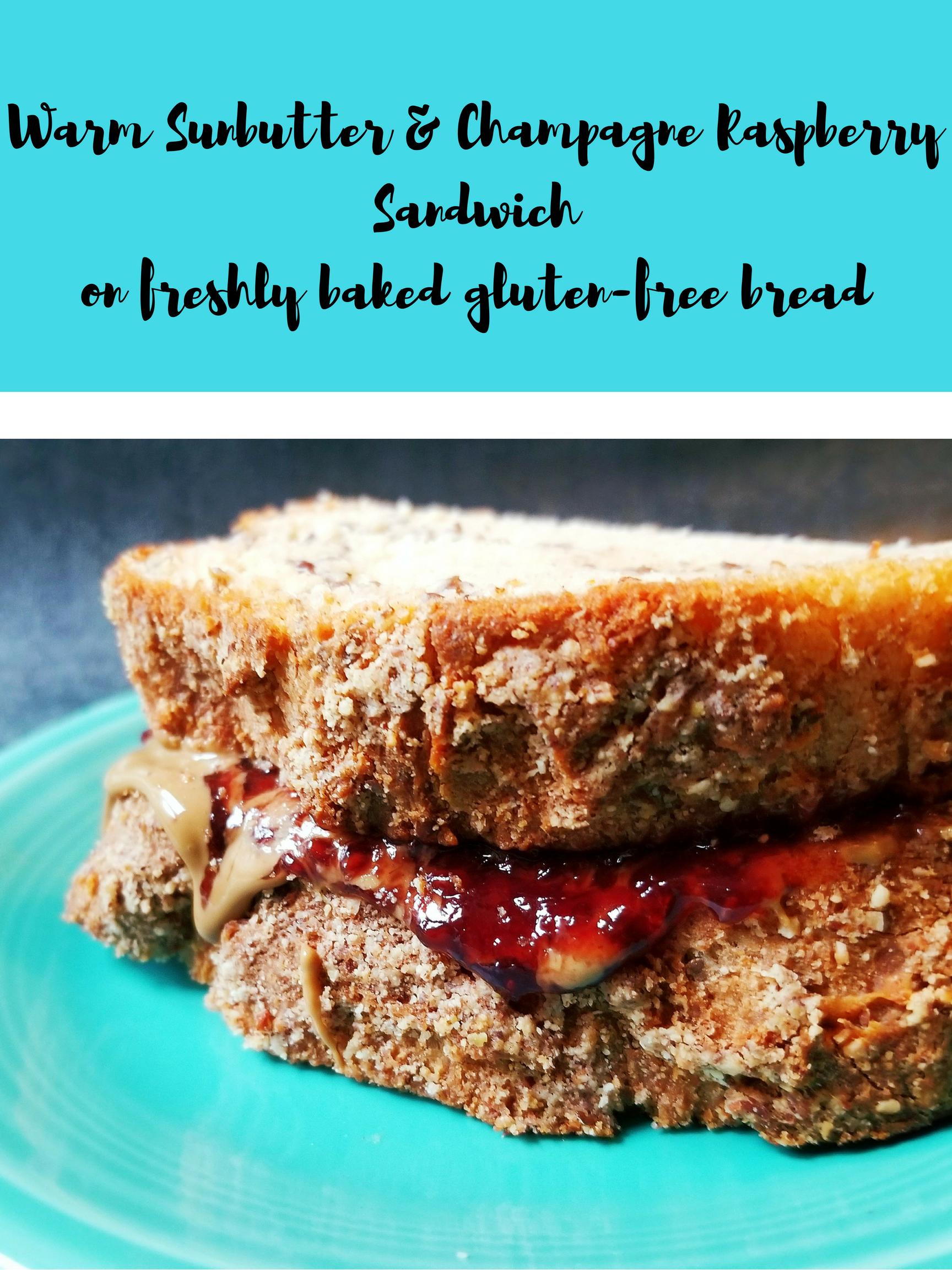 20181001 125834 0001635365464 - Warm Sunbutter & Raspberry Jelly Sandwich On Bob's Red Mill Bread
