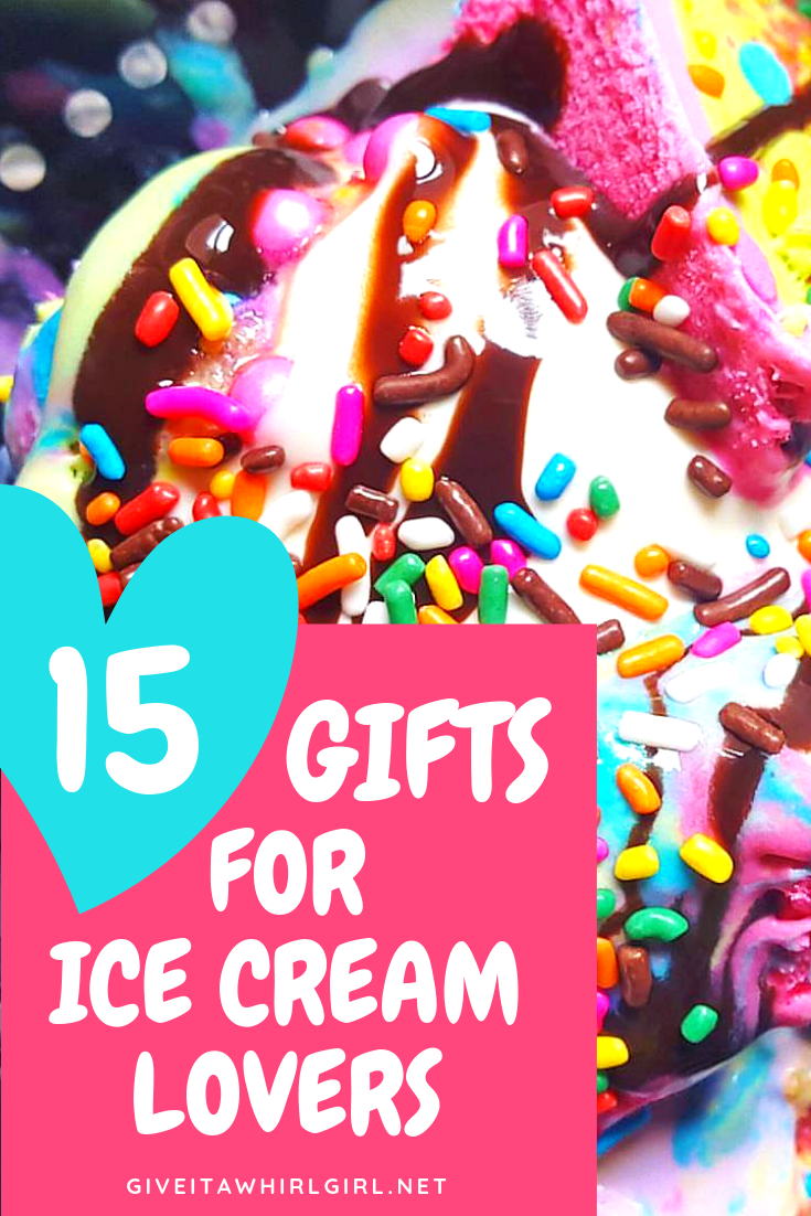 ICE CREAM LOVERS GIFT GUIDE by Give It A Whirl Girl - Top 15 ICE CREAM GIFTS - Today I am sharing my Ice Cream Lovers Gift Guide with my lovely readers on this day of Friday Faves. Are you an ice cream addict? I sure am and especially this time of year with summer approaching. I honestly could eat ice cream or frozen yogurt every single day, I love it that much! This Ice Cream Lovers Gift Guide is chock full of all the ice cream goodies that your heart (and tummy) desires!